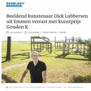 Beeldend kunstenaar Dick Lubbersen uit Emmen heeft een Gouden K in de wacht gesleept.